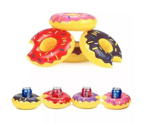 Mini Bóia Inflável Porta Copo Lata Donuts - Rosa