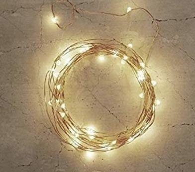 Fio Fada Cordão Prata Luz Natal 2m 20 Leds 2 Pilhas Aa