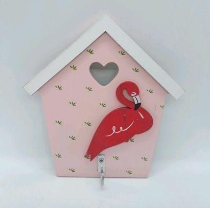 Gancho Em Madeira Porta Chave Casinha Flamingo Vermelho