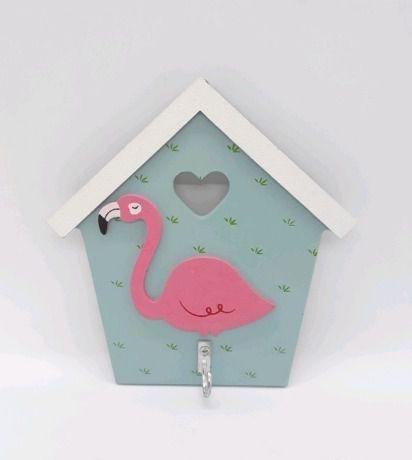 Gancho Em Madeira Porta Chave Casinha Flamingo Rosa