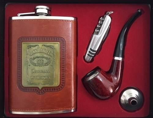 Kit Cantil Porta Bebidas Para Whisky Vodka Cachimbo Canivete