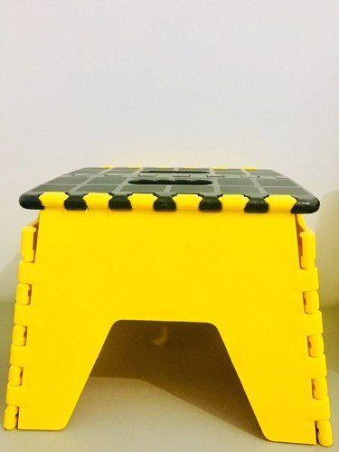 Banco Banqueta Dobrável Infantil Plástico - Amarelo