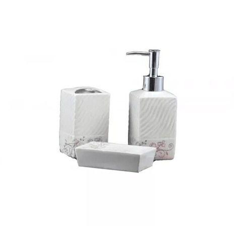 Conjunto Para Banheiro Em Cerâmica Floral - 3 Peças