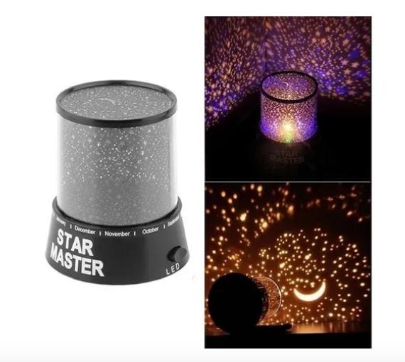 Abajur Projetor De Estrelas Luminária Star Master Black