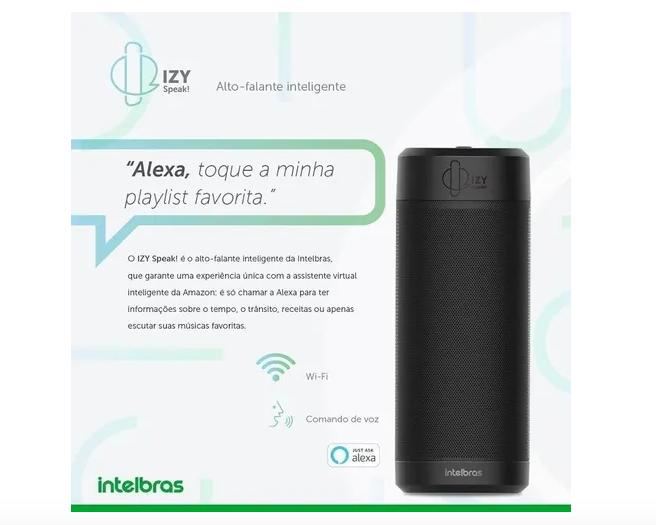 Alexa Comando Por Voz Caixa Acustica Izy Speak Intelbras
