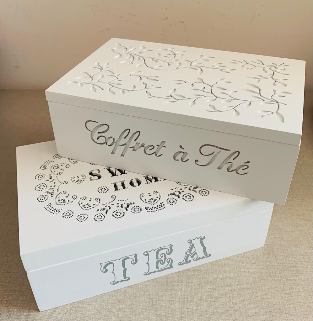 Caixa Organizadora Porta Chá Com 6 Divisórias em Madeira