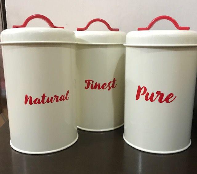 Conjunto com 3 Potes Retrô Decorativo para Mantimentos