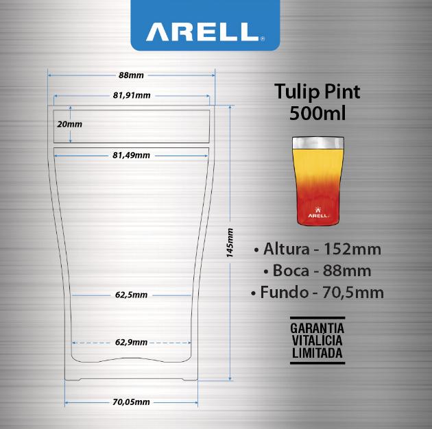 Copo Térmico Inox Tulip Café Cerveja 500ml Arell 5hs Gelado