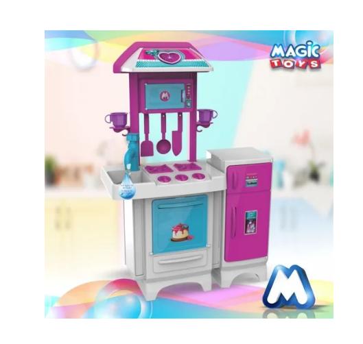 Cozinha Infantil Pink Completa C/ Água Geladeira Magic Toys