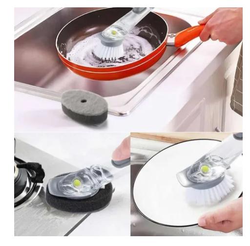 Escova Porta Detergente Multiuso Lava Louça 2 Em 1 Dispenser