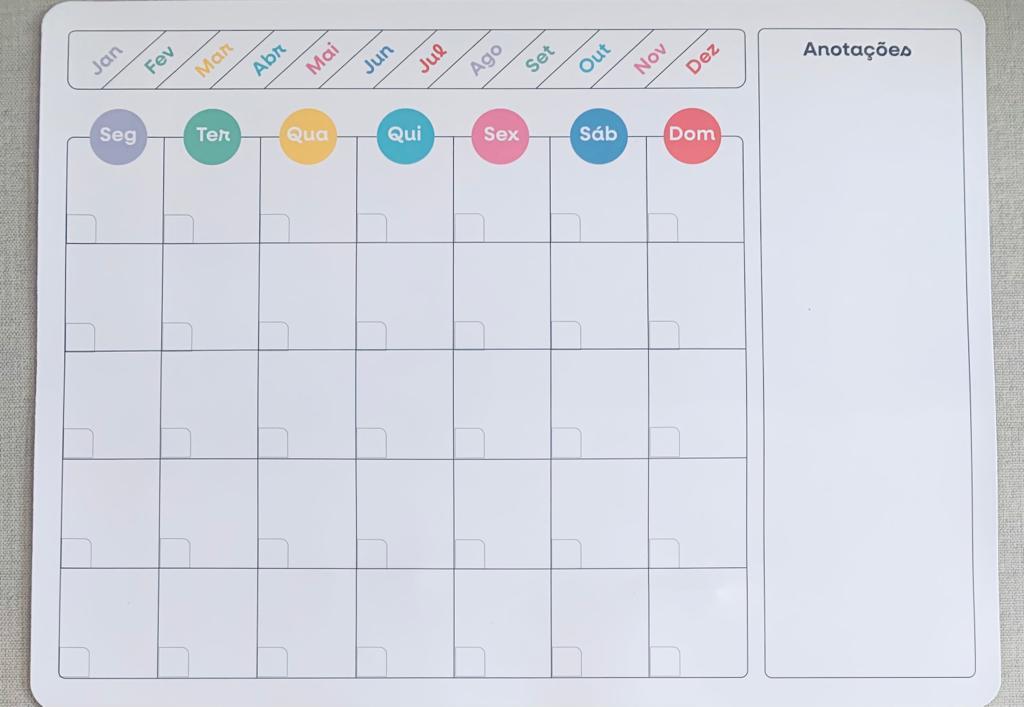 Imã Planner Magnético Mensal Com Caneta De Anotações Preta