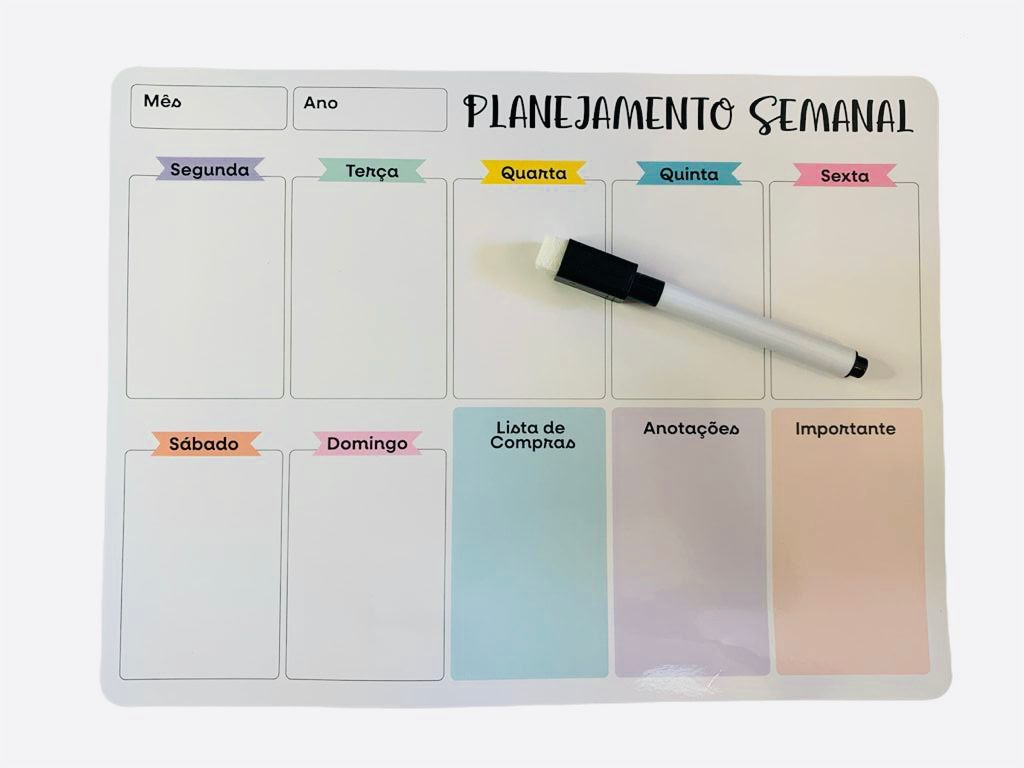 Imã Planner Magnético Planejamento Semanal c/ Caneta De Anotações Preta