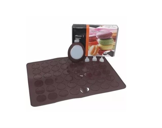 Kit Macaron Tapete Silicone Molde Forma Dosador Bicos Luxo
