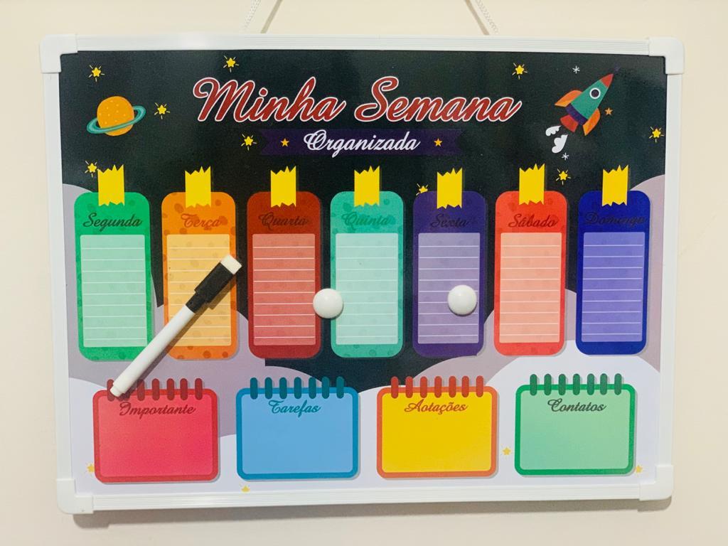 Lousa Magnética Minha Semana Organizada- 30x40cm