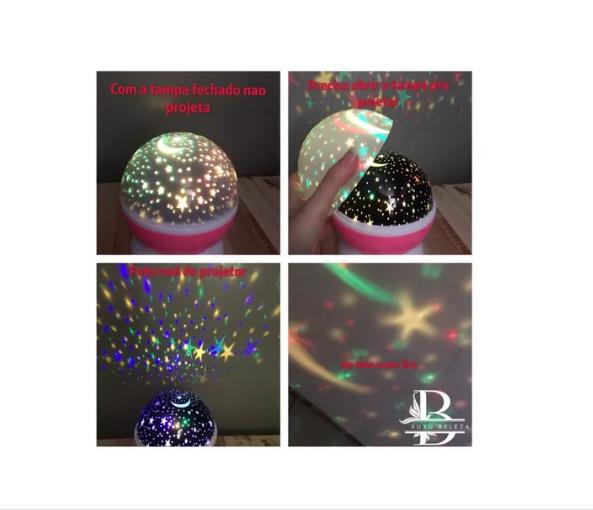 Luminária Abajur Projetor Estrelas 360º Star Master