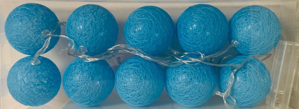 Luminária Cordão Fio De Luz 10 Bolas De Led - Azul