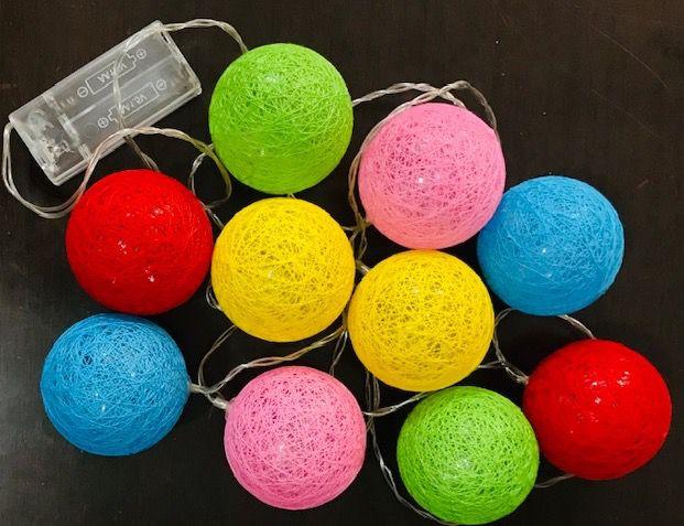 Luminária Cordão Fio De Luz 10 Bolas De Led Decoração - Colorido