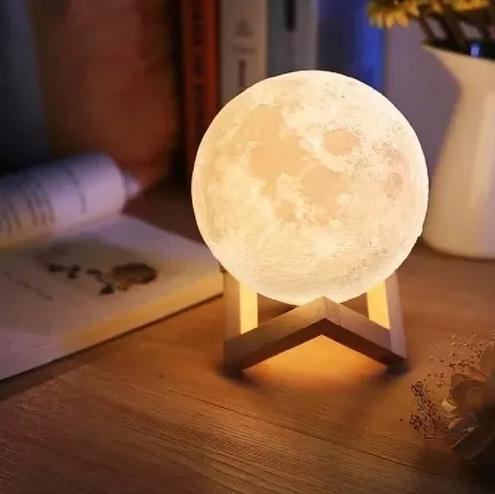 Luminaria Lua Cheia 12cm 3d Decoração Para Quarto/sala