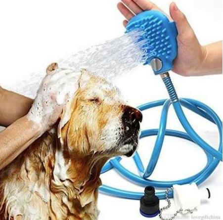 Mangueira Pet Massageador Lava Fácil Banho Cães E Gatos