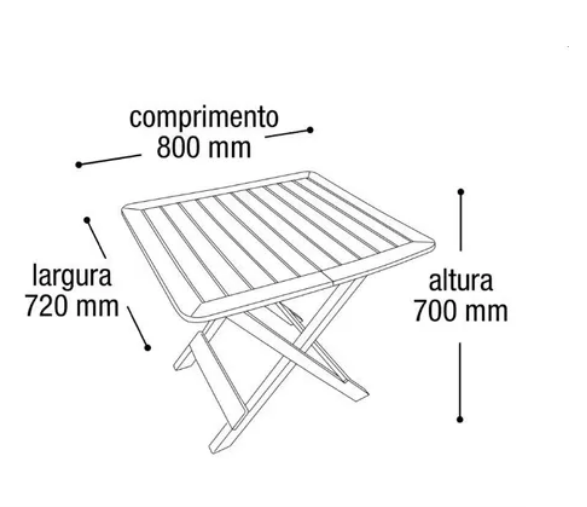 Mesa Quadrada em Plástico Dobrável Preta