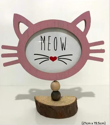 Porta Retrato De Mesa Gatinho Meow Madeira