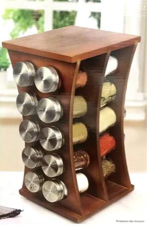Porta Temperos Aço Inox Base Giratória Com 20 Potes De Vidro