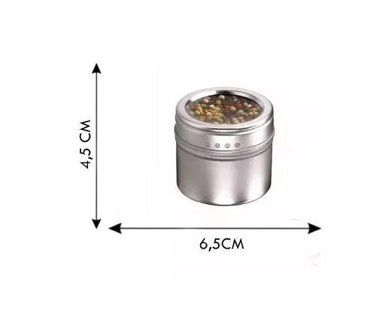 Porta Temperos Condimentos Magnético Fixar Geladeira Inox