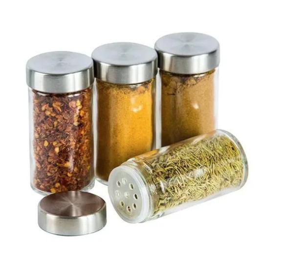 Porta Temperos Suporte Giratório Vidro 20 Peças Em Aço Inox