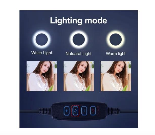 Ring Light Led Iluminador 26cm com Tripé 210cm