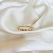 Anel Cravejado Colorido Banhado em Ouro 18k