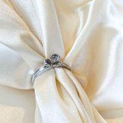 Anel Flor Banhado em Ródio Branco