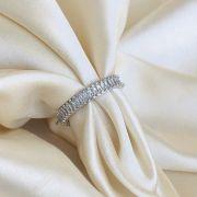 Anel Cravejado em Navetes Cristal Banhado em Ródio Branco