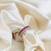 Anel Maxi Rose e Rubelita Banhado em Ródio Branco
