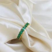 Anel Riviera Zircônias Quadradas Esmeralda Banhado em Ouro 18k
