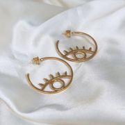 Argola Vazada com Desenho de Olho Banhada em Ouro 18k