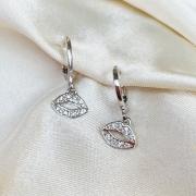Argolinha com Pingente de Boquinha Cristal Banhado em Ródio Branco