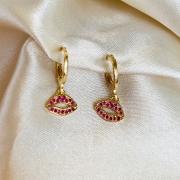 Argolinha com Pingente de Boquinha Pink Banhado em Ouro 18k