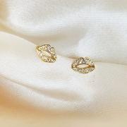 Brinco Boquinha Cristal Banhado em Ouro 18k
