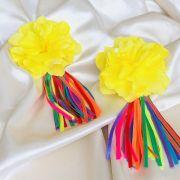 Brinco Flor Amarela Tassel Colorido Banhado em Ouro 18k