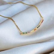 Colar Arco Cravejado Colorido Banhado em Ouro 18k