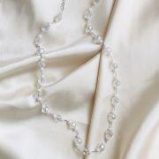 Colar com Cristais Banhado em Ródio Branco