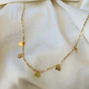 Colar Correntaria com Mini Corações Banhada em Ouro 18k
