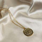 Colar Corrente Cartier com Pingente de Moeda Banhada em Ouro 18k