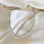 Colar Curto Corrente Elos Achatados Banhado em Ródio Branco