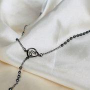 Colar em formato de Terço de Nossa Senhora Banhado em Ródio Negro