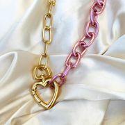 Colar Fecho Maxi Coração com Corrente Banhado em Pink e Ouro 18k
