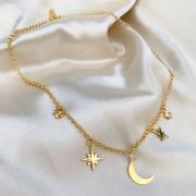Colar Galático Lua e Estrelas Banhado em Ouro 18k