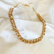 Colar Pedras Quadradas Morganita Banhado em Ouro 18k