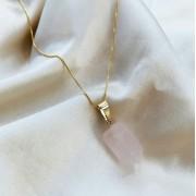 Colar Ponta de Quartzo Rosa Banhado em Ouro 18k