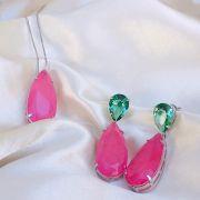 Conjunto Gotas Esmeralda e Pink Banhado em Ródio Branco